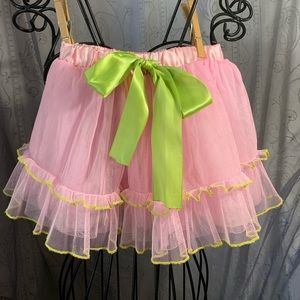 Pink with Green Bow and Trim Tulle Skirt